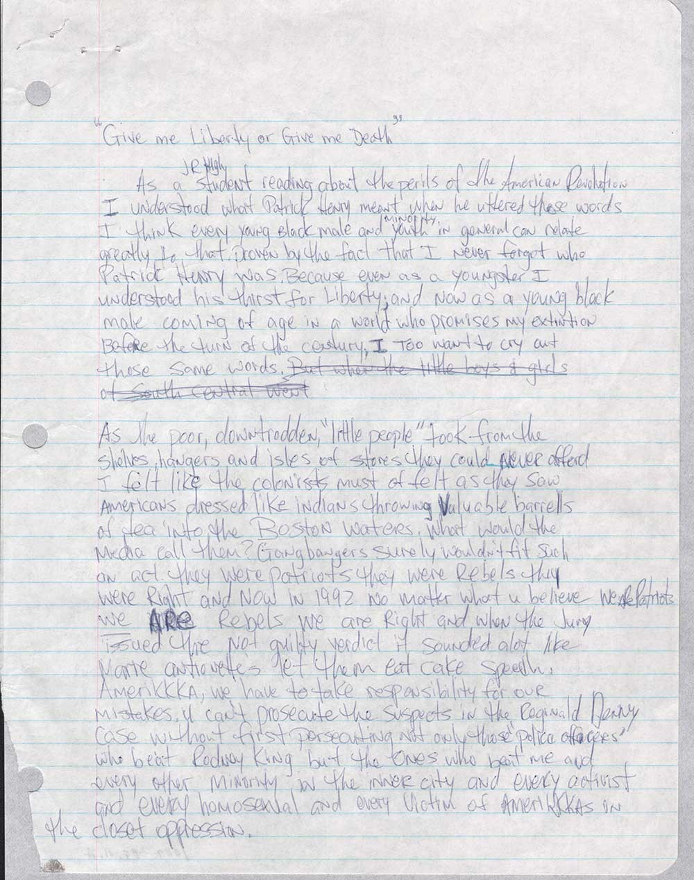 Tupac Essay: Give Me Liberty or Give Me Death